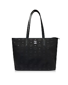 Black Large Nylon Top Zip Dieter Monogrammed Shopping Bag - MCM