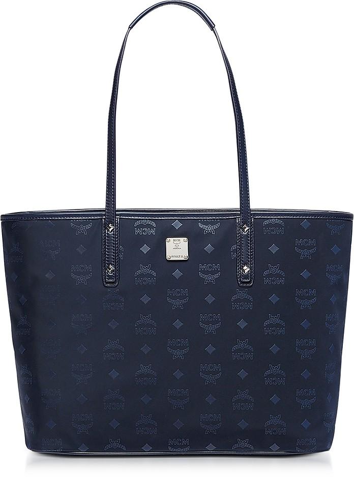 Medium Navy Blue Nylon Top Zip Dieter Monogrammed Shopping Bag