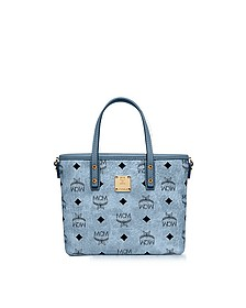 Mini Denim Eco Leather Top Zip Shopping Bag - MCM