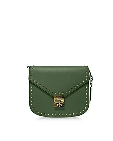 Loden Green Patricia Studded Outline Park Avenue Small Shoulder Bag - MCM