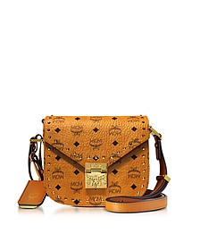 Cognac Patricia Studded Outline Visetos Small Shoulder Bag - MCM