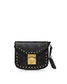 Black Patricia Studded Outline Visetos Mini Shoulder Bag - MCM