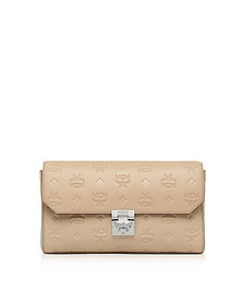 Medium New Beige Millie Monogrammed Leather Flap Crossbody Bag - MCM