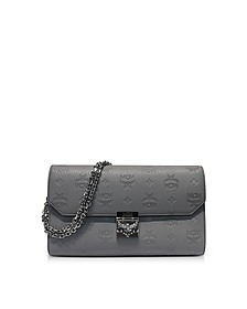 Medium Dove Millie Monogrammed Leather Flap Crossbody Bag - MCM