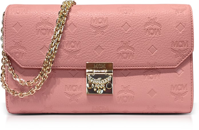 Medium Pink Blush Millie Monogrammed Leather Flap Crossbody Bag