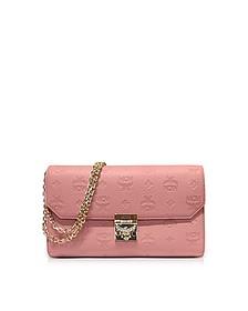 Medium Pink Blush Millie Monogrammed Leather Flap Crossbody Bag - MCM