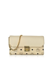 Medium Born Beige Millie Visetos Leather Block Flap Crossbody Bag - MCM