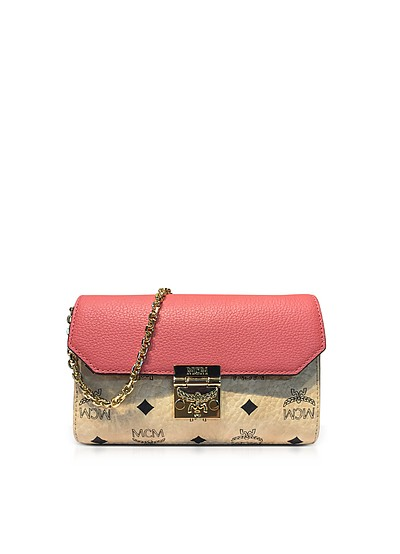 Medium Coral Blush Millie Visetos Leather Block Flap Crossbody Bag - MCM