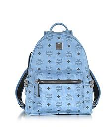 Small Stark Backpack Zaino in Canvas Blu Denim - MCM