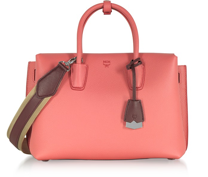 MILLA CORAL PINK PARK AVENUE MEDIUM LEATHER TOTE BAG
