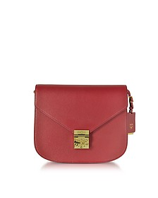 Patricia Park Avenue Medium Burgundy Leather Shoulder Bag - MCM