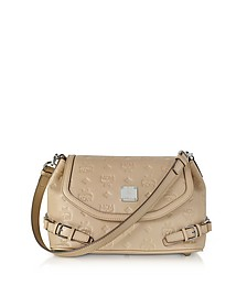 Beige Signature Monogrammed Leather Small Crossbody Bag - MCM