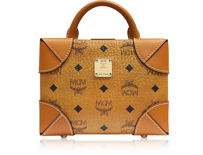 MCM Cognac Soft Berlin Visetos Small Crossbody Bag