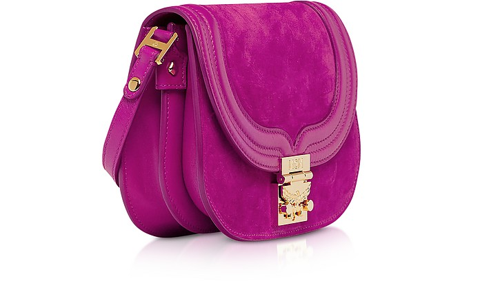 Trisha Viva Lilac Suede and Leather Small Shoulder Bag