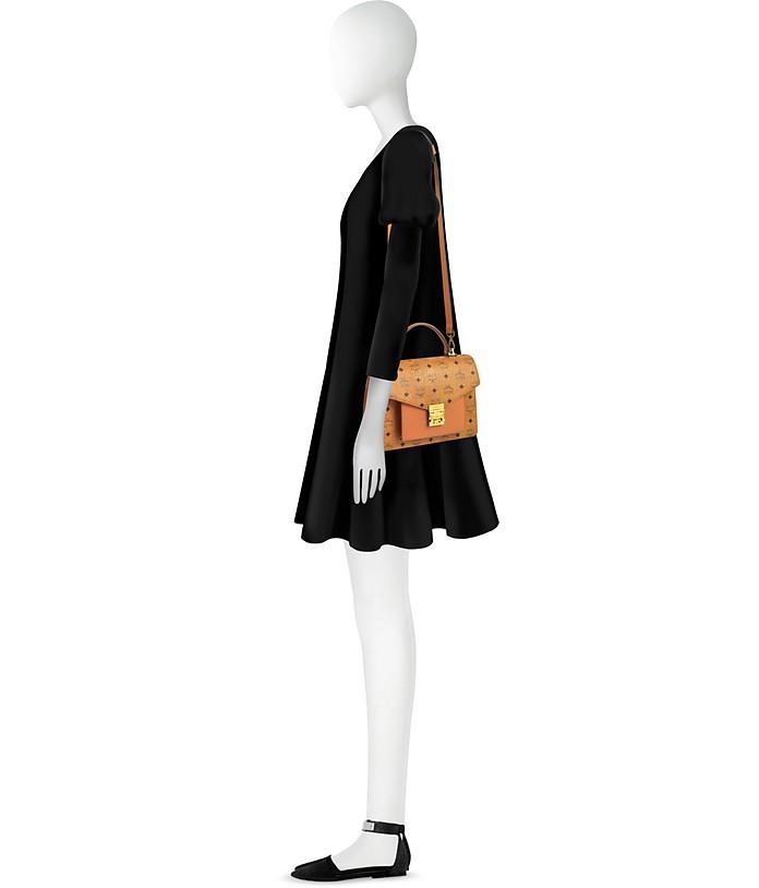 Cognac Patricia Visetos Medium Satchel Bag