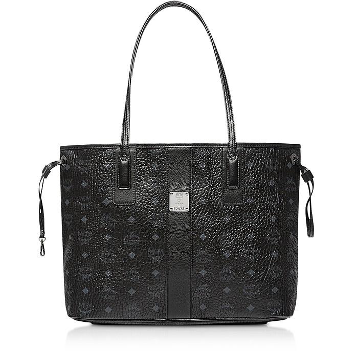 MCM Black Shopper Project Visetos Medium Reversible Tote Bag at ... 5aee3e916a3de