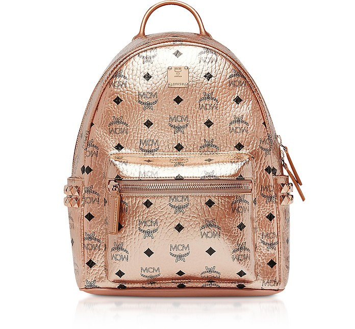 Small Champagne Gold Visetos Stark Side Studs Backpack  - MCM