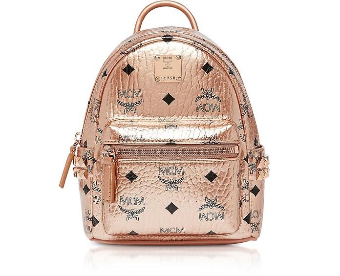 Champagne Gold Visetos Stark Bebe Boo X-Mini Backpack - MCM