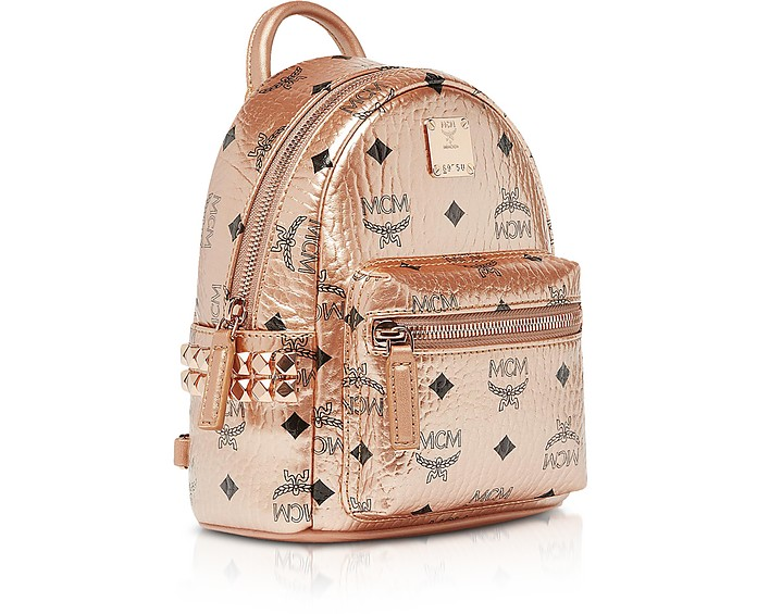 MCM Champagne Gold Visetos Stark Bebe Boo X Mini Backpack
