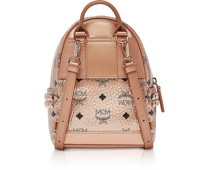 MCM Champagne Gold Visetos Stark Bebe Boo X Mini Backpack