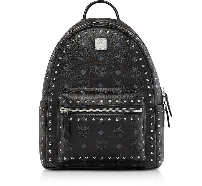 Small Black Studded Outline Visetos Stark Backpack  - MCM