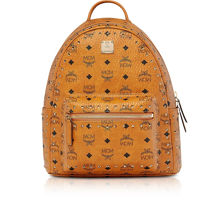 Small Cognac Studded Outline Visetos Stark Backpack  - MCM