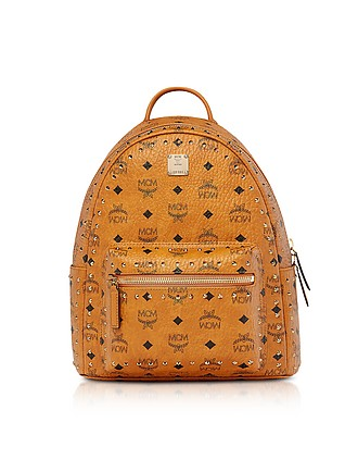 bfee2fbc99585 Small Cognac Studded Outline Visetos Stark Backpack - MCM