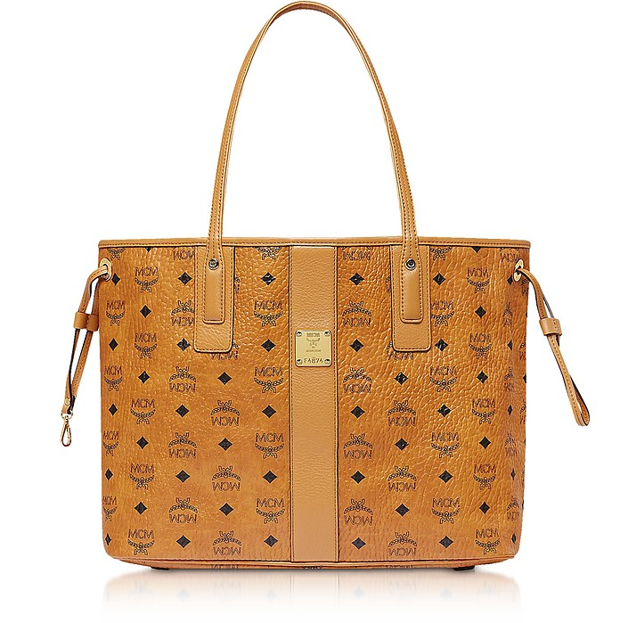 Cognac Visetos Medium Reversible Liz Shopper - MCM