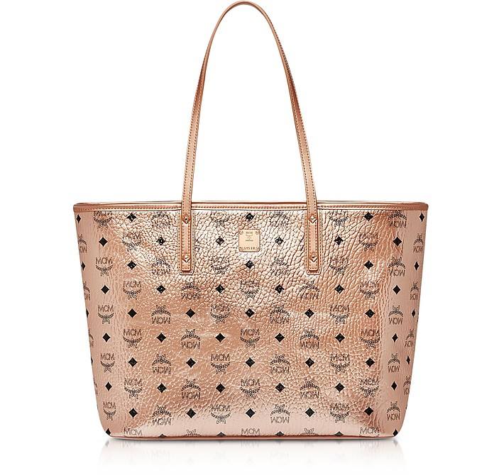 Champagne Gold Visetos Medium Anya Top Zip Shopper