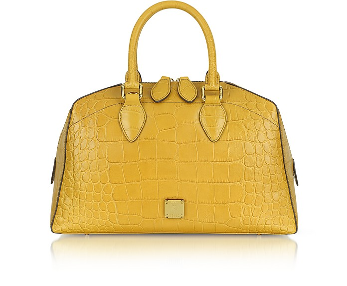 First Lady - Croco-Embossed Leather Boston Bag - MCM