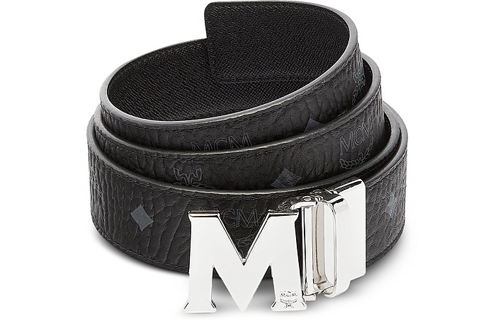 Black Visetos Claus M Reversible Belt - MCM