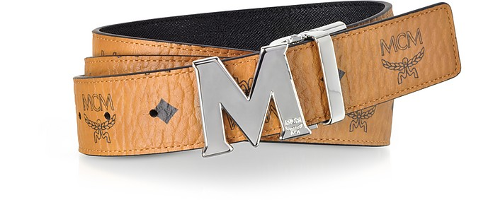 Cognac Visetos Claus M Reversible Belt w/Signature Buckle - MCM