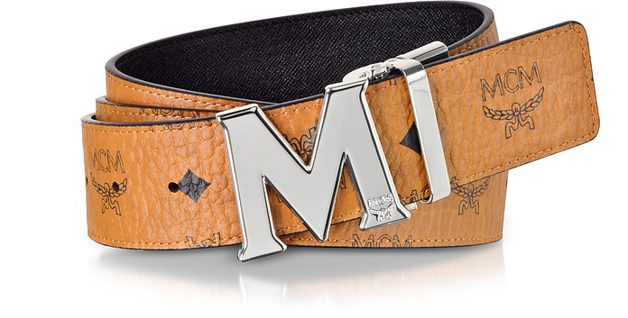 Cognac Visetos Claus M Reversible Belt w/Signature Buckle - MCM / エムシーエム