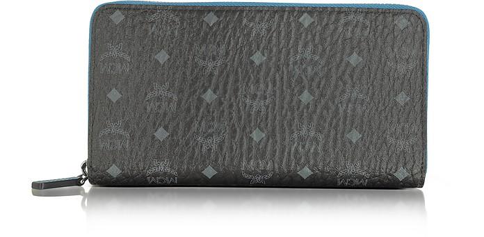 Color Visetos Black Coated Canvas Zip Around Wallet - MCM
