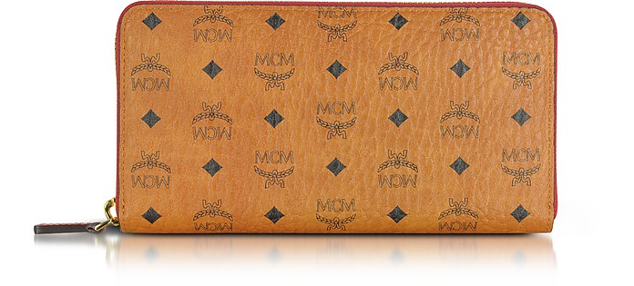 Color Visetos Cognac Coated Canvas Zip Around Wallet - MCM