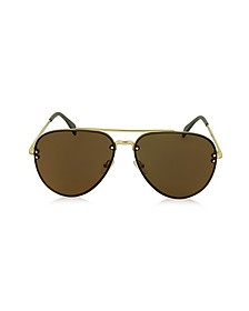 MIRROR CL 41391/S J5GLC Black Acetate & Gold Metal Aviator Unisex Sunglasses - Céline
