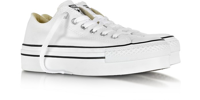 All Star Ox White Canvas Platform Sneaker