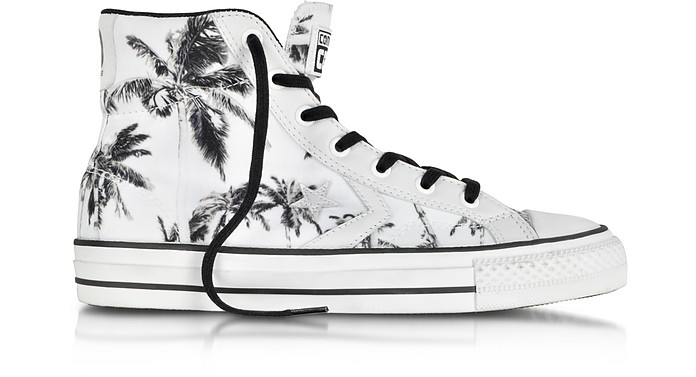 Star Player Ev High Top Optical White/Black Palms Printed Canvas and Leather Sneaker - Converse Limited Edition
