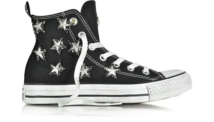 32c6931c3975 All Star Hi Black Canvas and Silver Stars Glitter Distressed Sneaker - Converse  Limited Edition