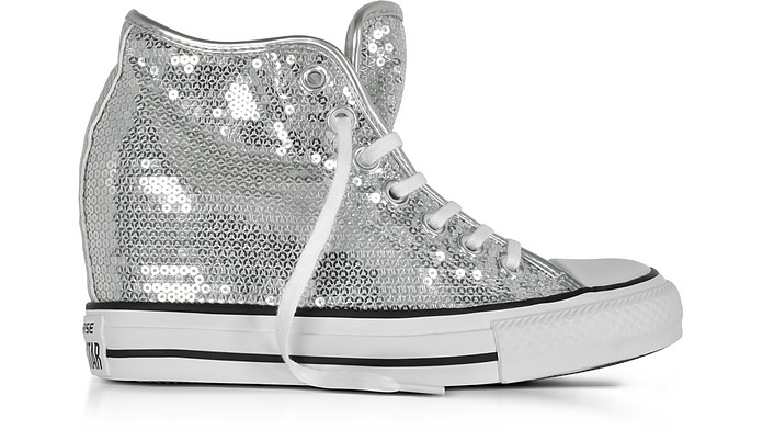 21716350b074 Chuck Taylor All Star Mid Lux Sequins Silver Wedge Sneakers - Converse  Limited Edition