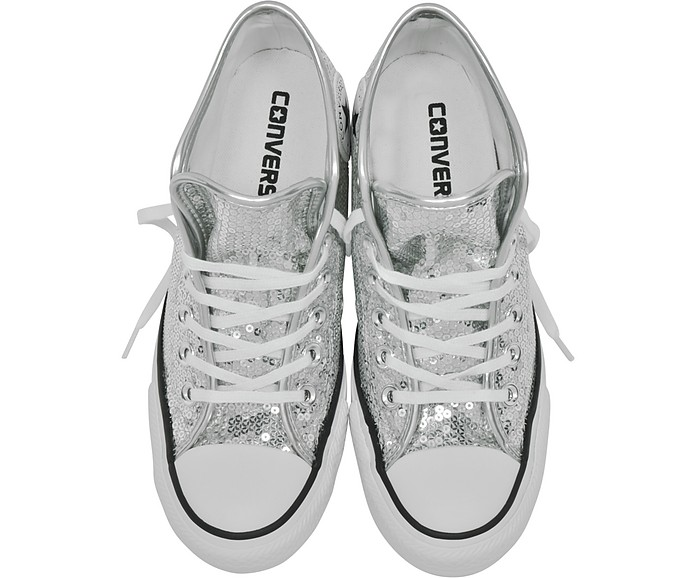 becb1c0497e7 Chuck Taylor All Star Mid Lux Sequins Silver Wedge Sneakers - Converse  Limited Edition. Sold Out