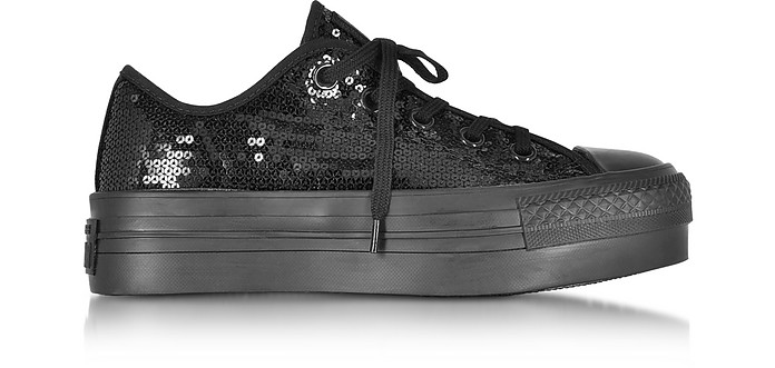 da2133ef5e86 Chuck Taylor All Star Ox Black Platform Sequins Sneakers - Converse Limited  Edition
