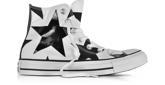 746530f02ab9 Chuck Taylor All Star High White Canvas W Black Big Stars - Converse  Limited Edition