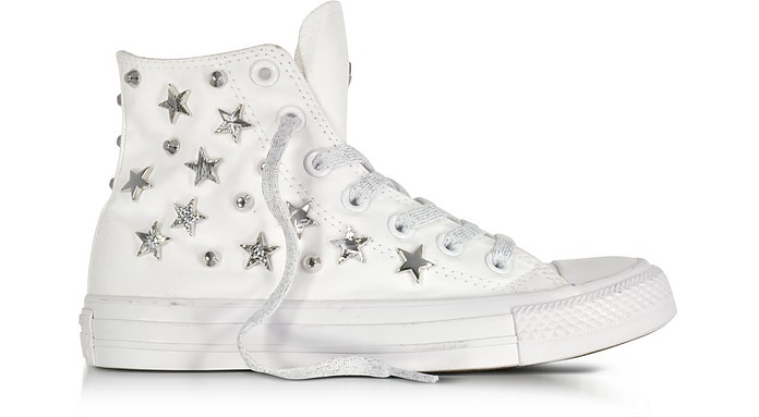 d23002c61d6e Chuck Taylor All Star Hi White Sneakers w Stars and Studs - Converse  Limited Edition