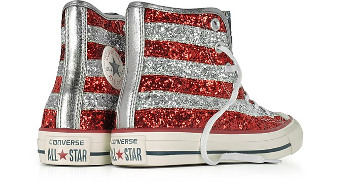 5aac7bc6e203e9 Chuck Taylor All Star Hi Silver and Red Glitter Sneakers - Converse Limited  Edition.  82.50  110.00 Actual transaction amount