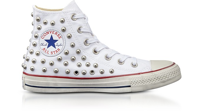 Chuck Taylor All Star High White Studded Canvas Sneakers - Converse Limited  Edition
