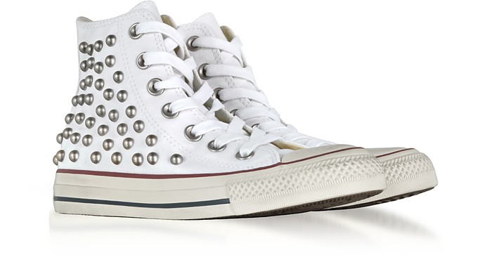 c7242da8a64 Chuck Taylor All Star High White Studded Canvas Sneakers - Converse Limited  Edition. Sold Out