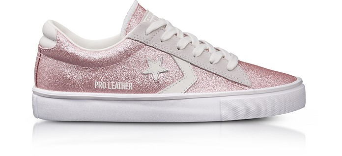 Pro Leather Vulc Blossom Pink Glitter and Suede Sneakers - Converse Limited  Edition f44361997