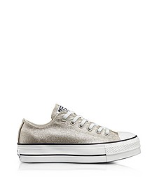 Chuck Taylor All Star High Light Gold Glitter Textured Canvas Flatform Sneakers - Converse Limited Edition