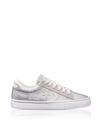 Pro Leather Vulc Sneakers aus Wildleder in Silber mit Glitter - Converse  Limited Edition